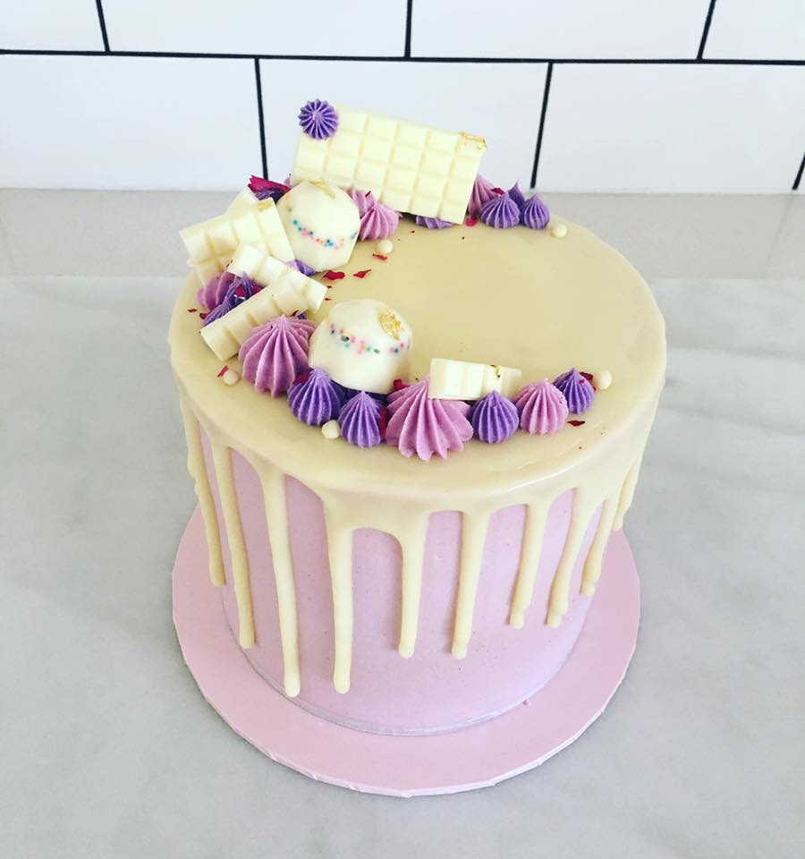 Chocolate Cake With Yellow And Pink Icing